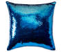 Blue and Pink Mermaid Sequin Throw Pillow 18 inch x 18 inch silo front