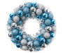 Blue and Silver Tinsel Ornament Wreath 16 inch silo front
