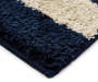 Blue and Tan Stripes Shag Accent Rug 1 feet 8 inch x 2 feet 10 inch silo front corner