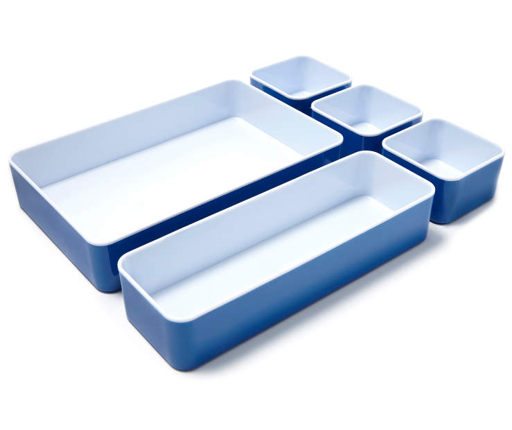 Blue and White 5 Piece Organizer Set silo angled