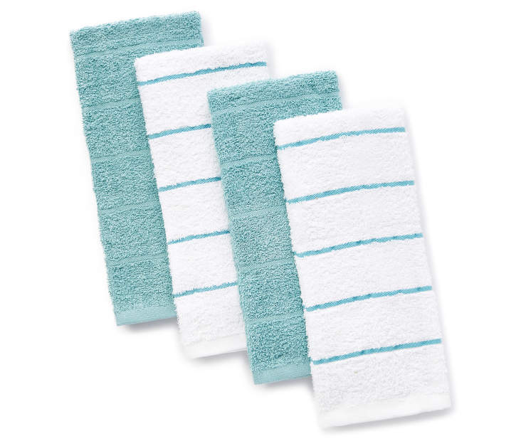 Blue and White Cotton Kitchen Towels 4-Pack