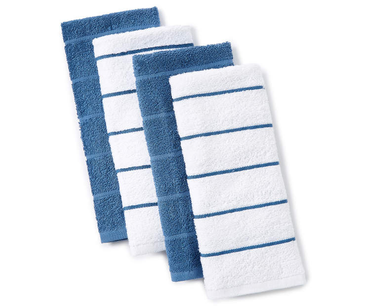 Blue and White Stripe Kitchen Towels 4 Pack silo front