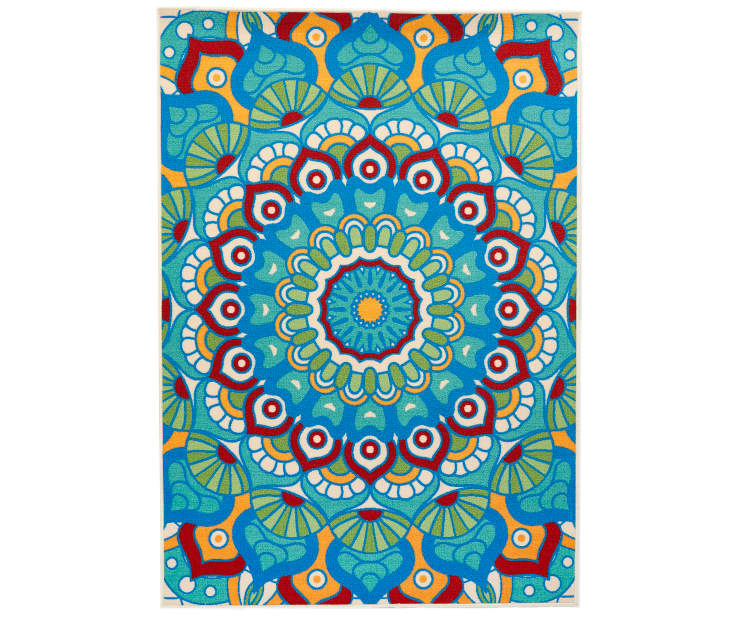 Bohemian Mandala Multi Color Indoor Outdoor Area Rug 6 feet by 9 feet Silo Image Overhead View