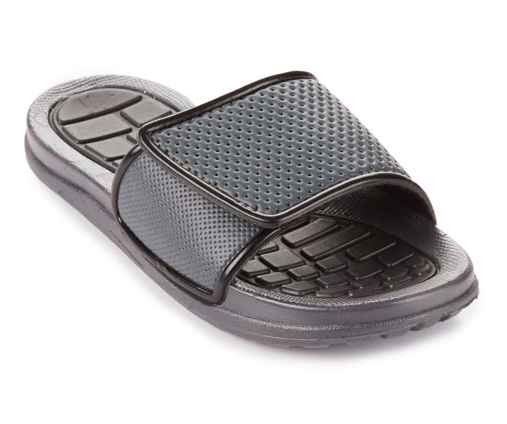 Boys Charcoal & Black Athletic Slide, Size Large Silo Image Angled Front View