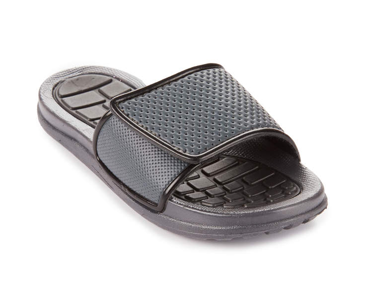 Boys Charcoal & Black Athletic Slide, Size Medium Silo Image Angled Front View