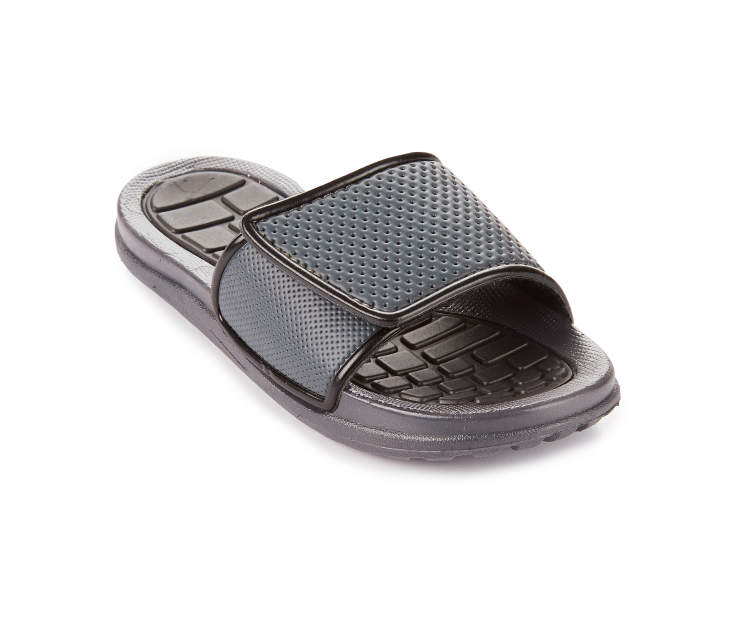 Boys Charcoal & Black Athletic Slide, Size Small Silo Image Angled Front View