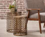 Brass 2 Piece Metal Nesting Accent Table Set lifestyle