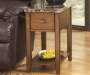 Breegin Brown Faux Marble End Table with Removable Tray