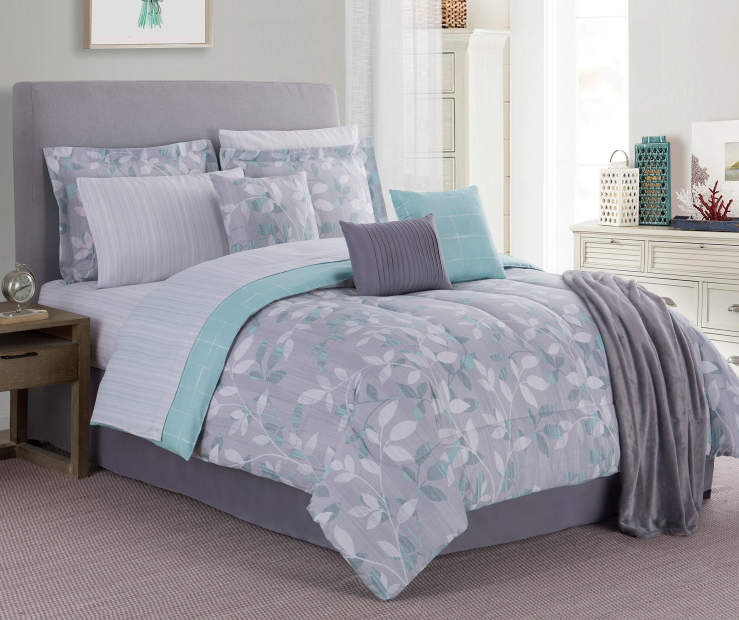 Brianna Gray and Aqua Floral Queen 12 Piece Comforter Set Lifestyle Image Bedroom