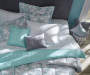 Brianna Gray and Aqua Floral Queen 12 Piece Comforter Set Lifestyle Image Overhead View of Bedspread and Pillows