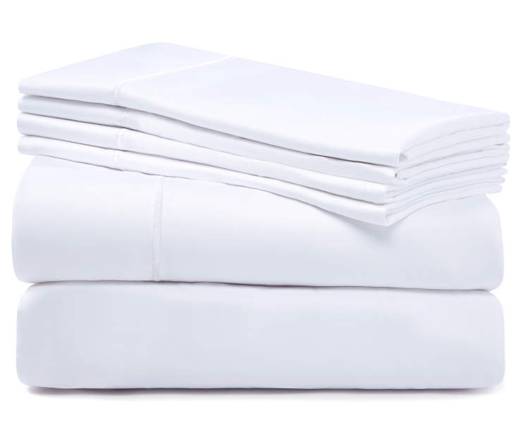 Bright White 1220 Thread Count Queen 6 Piece Sheet Set silo front