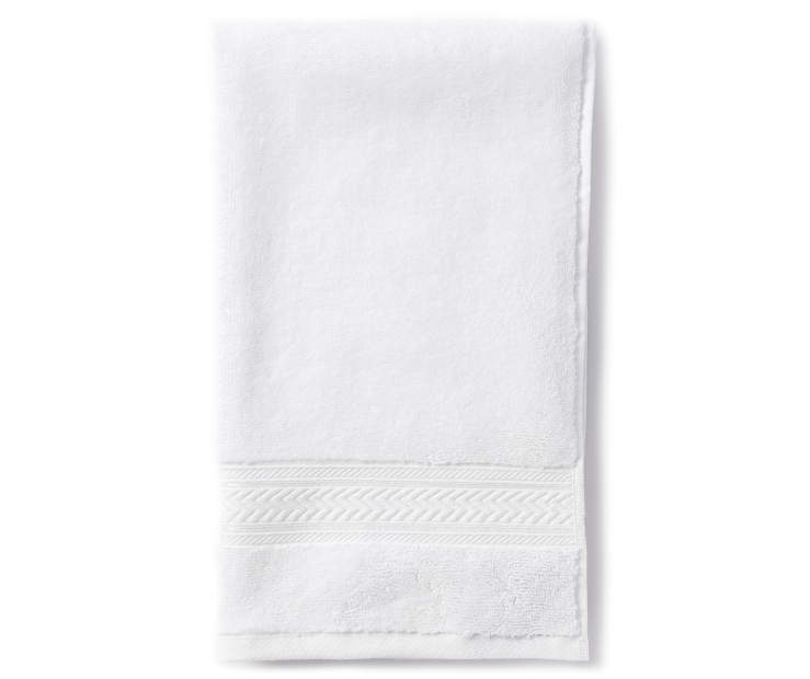 Bright White Hand Towel Folded Overhead View Silo Image