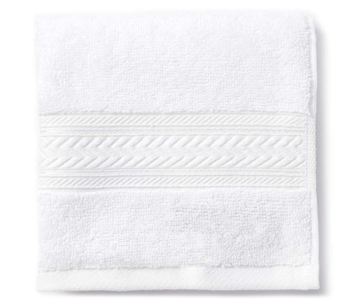 Bright White Wash Cloth Folded Overhead View Silo Image