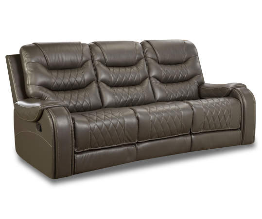 Gray Faux Leather Motion Sofa