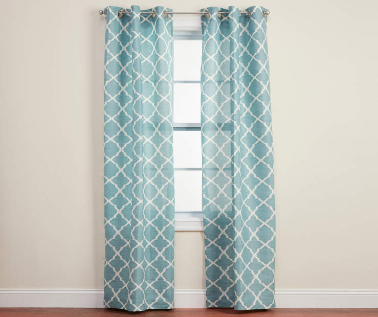 Brinson Spa Blue Geo Curtain Panel Pair 84in lifestyle