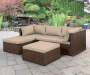 Brook Brown All Weather Wicker Sectional and Ottoman with Tan Cushions Lifestyle Patio