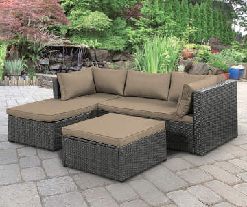 Wilson Fisher Brook Gray All Weather Wicker Sectional Ottoman With Tan Cushions