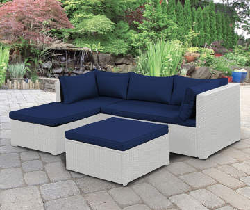 Wilson Fisher Brook White All Weather Wicker Sectional Ottoman With Blue Cushions Sectiona
