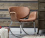 Brown Faux Leather Metal Back Rocking Chair lifestyle