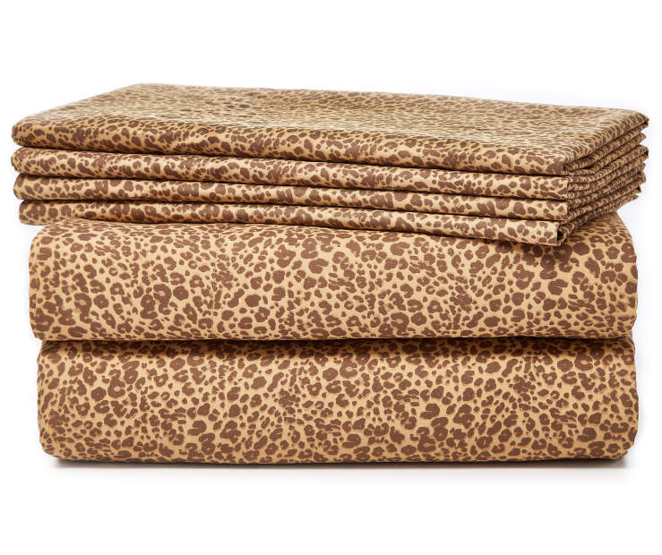 Brown Leopard 6 Piece Queen Sheet Set Stacked and Folded Silo Image