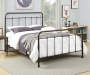 Brown Metal Curved Queen Bed lifestyle bedroom with bedding
