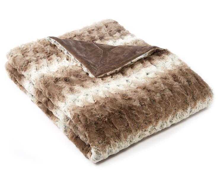Brown Ombré Faux Fur Luxe Throw silo front