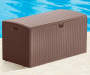 Brown Resin Wicker 73 Gallon Outdoor Storage Box Lifestyle Closed