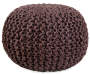 Brown Round Knitted Pouf Ottoman silo front