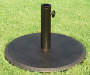 Brown Round Metal Umbrella Base Front View Lifestyle Image