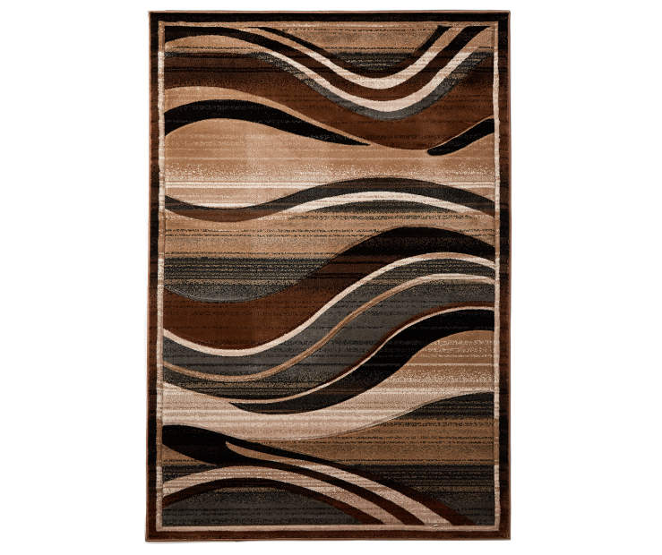 Brown Tidal Wave Area Rug 5 feet x 7 feet 3 inch silo front