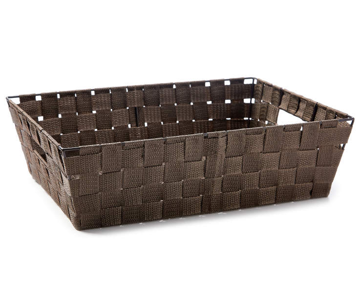 Brown Tray Woven Strap Bin silo side view