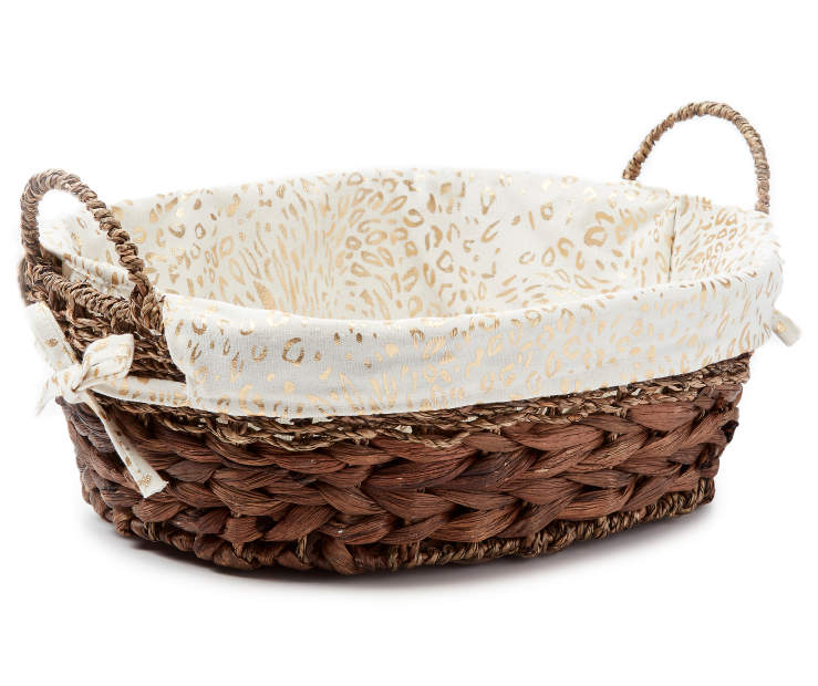 Brown Water Hyacinth Oval Tray Bin with Cheetah Print Liner silo front