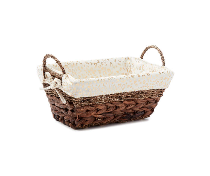 Brown Water Hyacinth small bin w/Printed Cheetah Liner