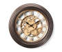 Brown and Gold Gear Wall Clock 14in silo front