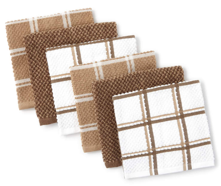 Brown and Tan Cotton Dish Cloth 6-Pack Fanned Silo