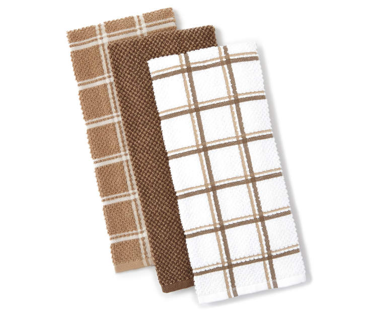 Brown and Tan Kitchen Towels 3 Pack Fanned Silo
