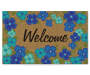 Brynn Aqua and Blue Floral Coir Outdoor Doormat 18 Inches by 30 Inches Overhead View Silo Image