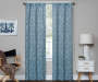 Bryon Ocean Teal Damask Blackout Single Curtain Panel 95 inch lifestyle