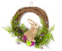 Bunny and Springtime Floral Half Wreath 12 inches Silo Front
