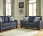 Burgos Navy Blue Loveseat lifestyle living room