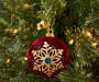 Burgundy Snowflake Round Ornaments 3 Count lifestyle
