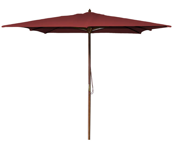 Burgundy Square Wood Market Patio Umbrella 8.5 Feet with Pull String Front View Silo Image
