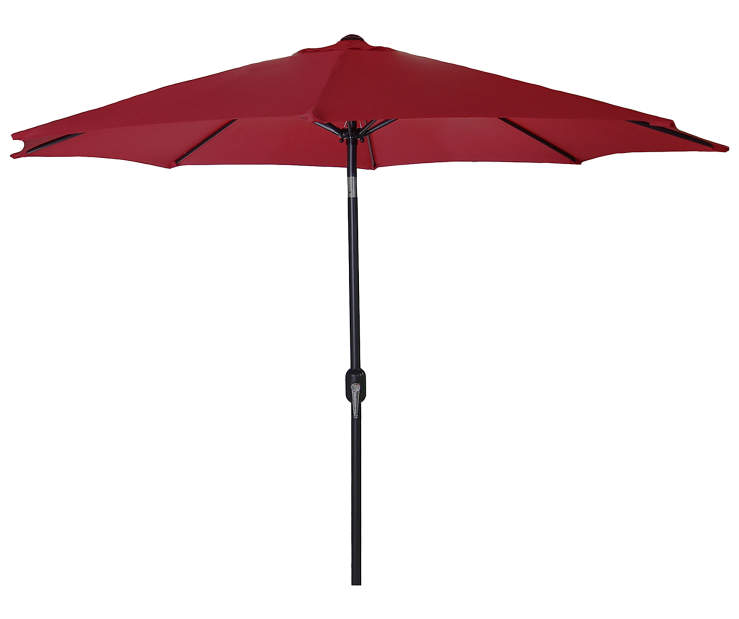 Burgundy Steel Market Patio Umbrella 7.5 Feet with Hand Crank Front View Silo Image