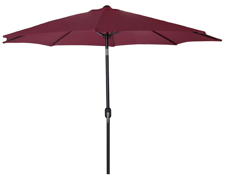 Burgundy Steel Market Patio Umbrella 9 Feet with Hand Crank Front View Silo Image