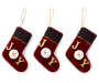Burgundy Velvet Joy Stocking Ornaments 3 Pack silo front