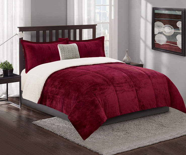Burgundy and Sherpa Queen King 4 Piece Reversible Comforter Set lifestyle bedroom