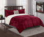 Burgundy and Sherpa Twin Full 4 Piece Reversible Comforter Set silo front