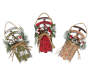 Burlap Sleigh Ornaments 3 Pack Overhead Shot Silo Image