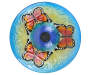 Butterfly Solar Stained Glass Birdbath Top View Silo