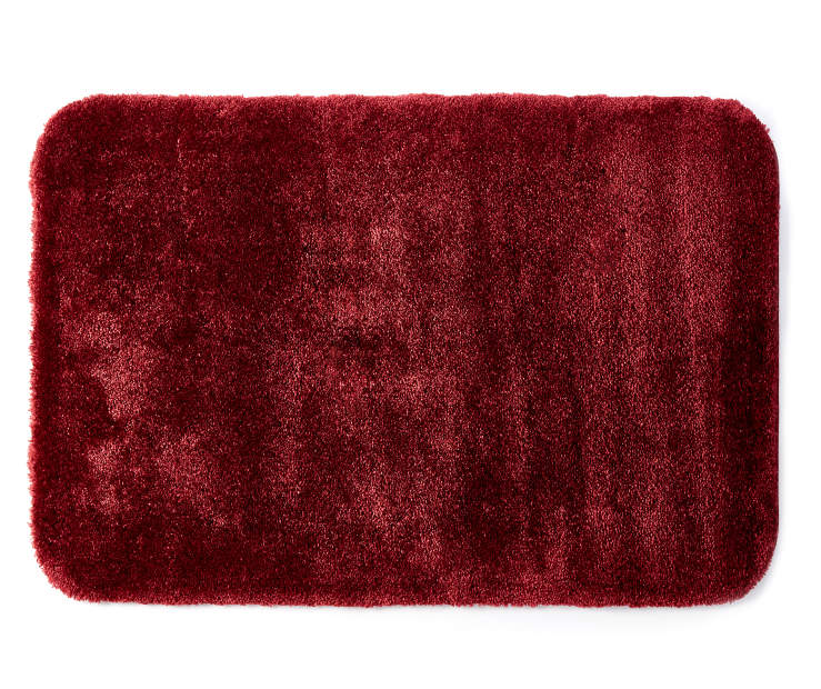 Cabernet Red Bath Rug 24 Inches by 36 Inches Overhead View Silo Image